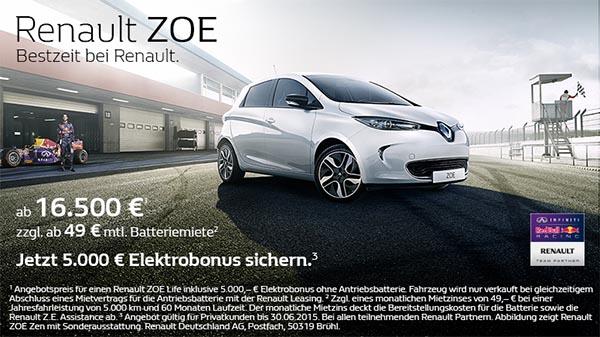 der preis f r das elektroauto renault zoe wird auf euro gesenkt mein elektroauto. Black Bedroom Furniture Sets. Home Design Ideas