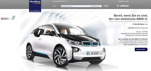 das elektroauto bmw i3 kann man nun auch per lufthansa meilen kaufen. Black Bedroom Furniture Sets. Home Design Ideas