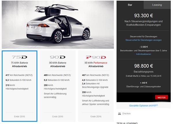Der Konfigurator für das Elektroauto Tesla Model X ist nun auch in ...
