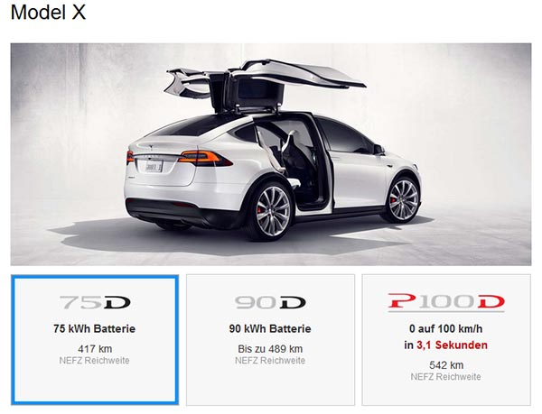 die 60kwh batterie f r das elektroauto tesla model x wurde gestrichen. Black Bedroom Furniture Sets. Home Design Ideas