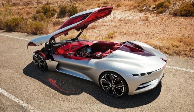 Zum Aus- oder Einsteigen wird das Fahrzeugdach hydraulisch angehoben. Das Elektroauto Renault Trezor kann noch bis zum 16. Oktober 2016 auf der Automesse in Paris angeschaut werden. Bildquelle: Renault