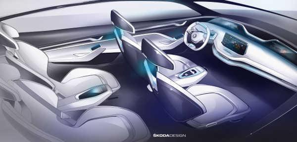 Im Elektroauto Skoda Vision E sitzt man in Schalensitzen. Bildquelle: Skoda